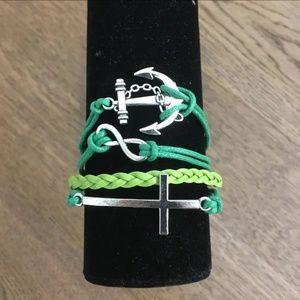 3/$15 ** Anchor Cross Infinity Green Bracelet NWOT